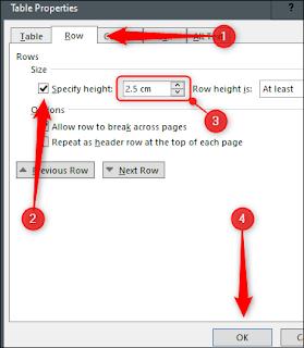 Word: modificare l'altezza della tabella