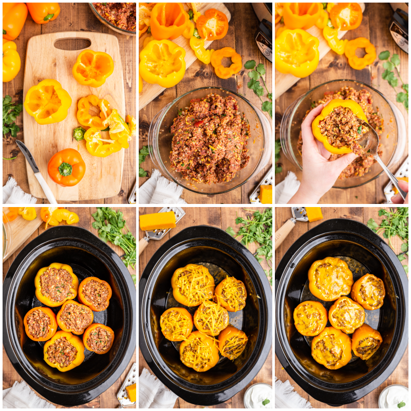 Six more photos of the process of making Keto Slow Cooker Mexican Stuffed Peppers.