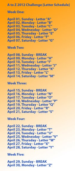 A to Z 2012 Challenge [Letter Schedule]