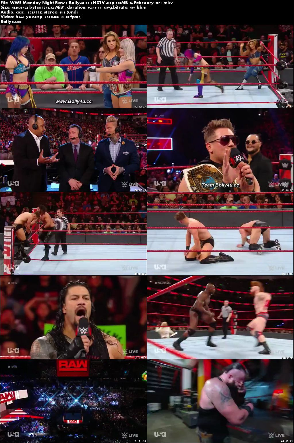 WWE Monday Night Raw HDTV 480p 400MB 26 February 2018 Download