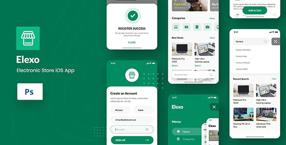Best Electronic Store iOS App Design PSD Template