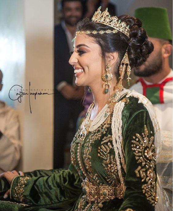 caftan mariage de luxe velours de soie vert 2020