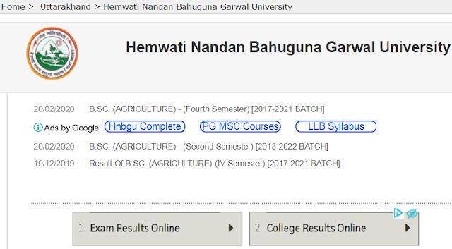 Hemwati Nandan Bahuguna Garhwal University Upcoming Exam Result 2020