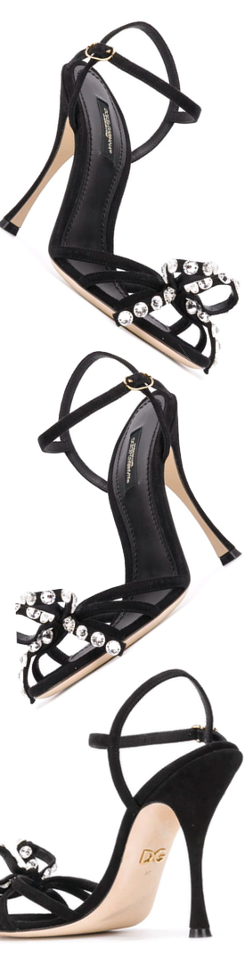 DOLCE & GABBANA black 105 Crystal Embellished Suede Sandals