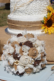 rustic bridal bouquet with pearls