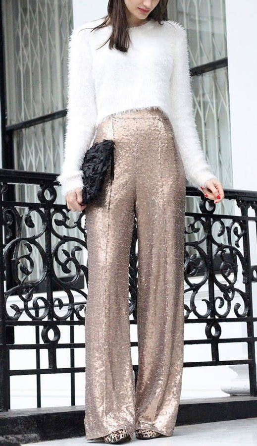 awesome new year eve outfit with a pair of glitter pants