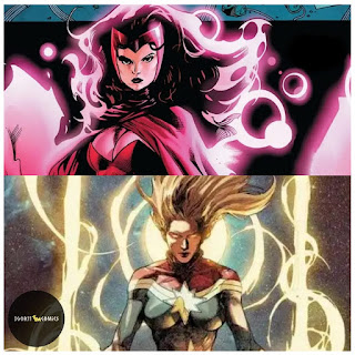 an image containing scarlet witch with chaos magic and captain marvel in binary form.