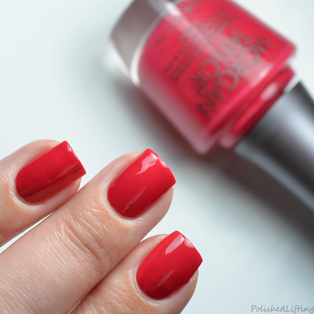 bright red creme nail polish swatch