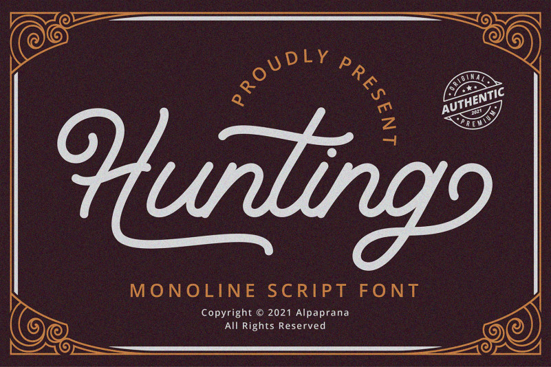 Hunting Font - Free Monoline Script Typeface