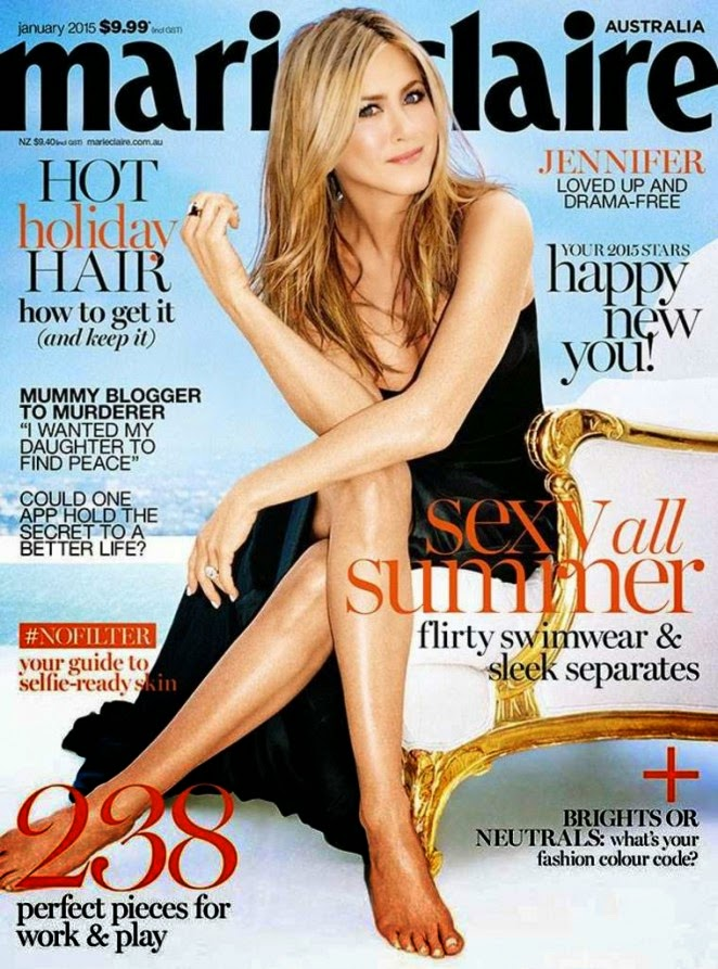 Jennifer Aniston shows off toned legs for the Marie Claire Australia January 2015 issue
