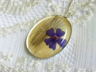 Sterling silver hair and purple flower pendant