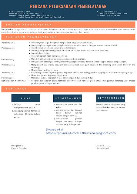 RPP 1 Lembar SMP Bahasa Inggris Kelas VII Semester 1 Tahun Ajaran 2020-2021