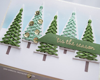 This sweet stitched Christmas card was created using stamps and dies from the Concord & 9th 2019 Holiday Release.  Featuring the Merry Shapes bundle.  For the full details for each of four cards, along with details about where to purchase the supplies used, please visit the blog post.