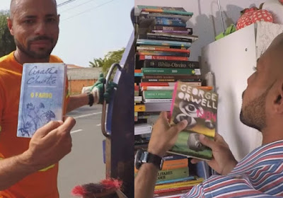 Lixeiro recupera livros do lixo e monta a própria biblioteca