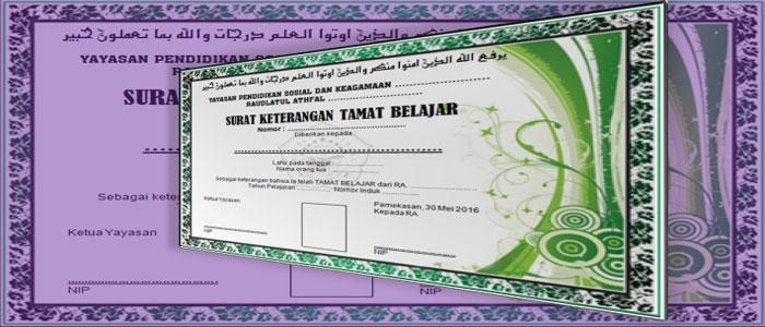 Contoh Format Blanko Ijazah Sertifikat atau Piagam PAUD TK RA