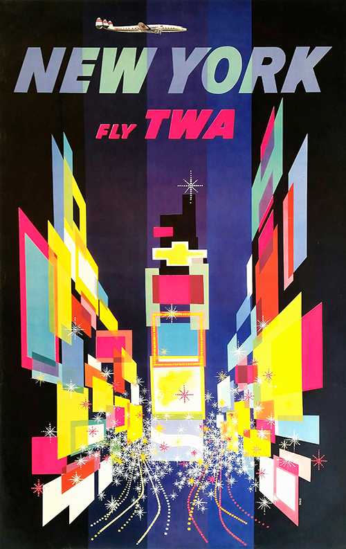 TWA New York, Times Square - Vintage Travel Poster, classic posters, free download, free posters, free printable, graphic design, new york, printables, retro prints, skiing, travel, travel posters, vintage, vintage posters, vintage printables, vintage travel posters