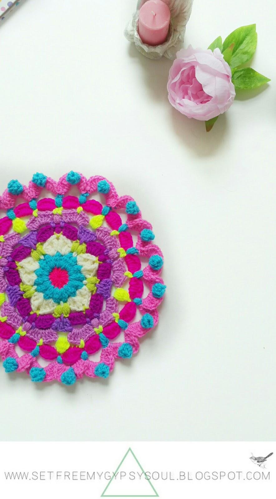 free mandala crochet pattern flower pink peggy boho hippie