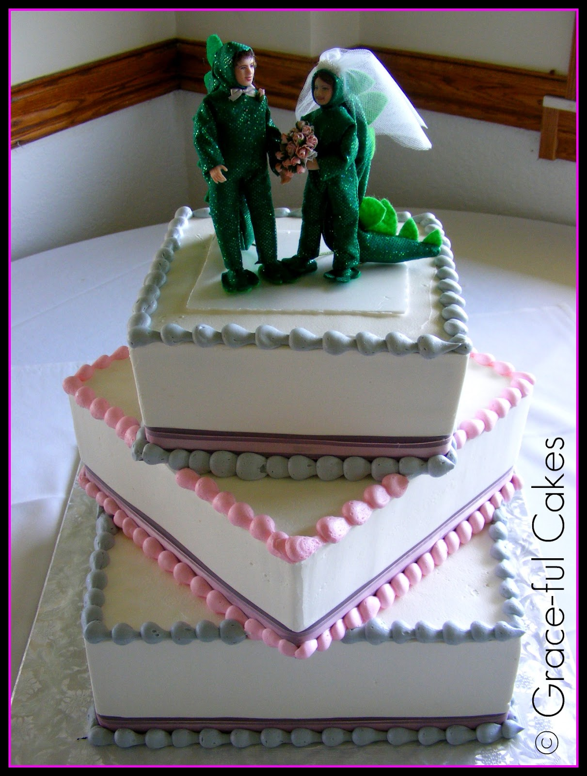 Work Wedding Cake Scroll Dinosaur Topper