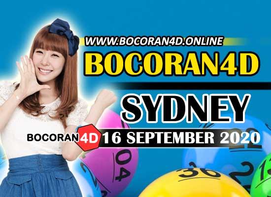 Bocoran Togel 4D Sydney 16 September 2020