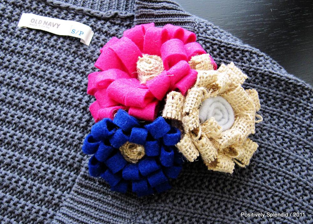 Burlap U0026 Felt Flower Brooch Tutorial   Positively Splendid {Crafts, Sewing,  Recipes And Home Decor}