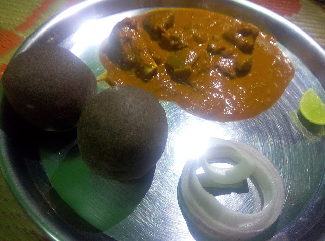 Ragi Mudde Recipe Finger Millet with Spicy Mutton Curry Gravy Indian  with Lemon Onion