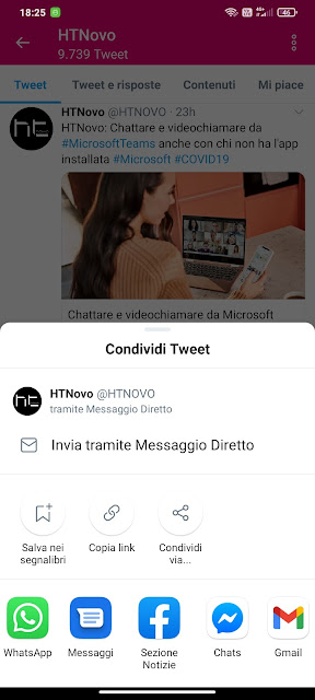 Twitter ottiene il nuovo menu di condivisione su Android