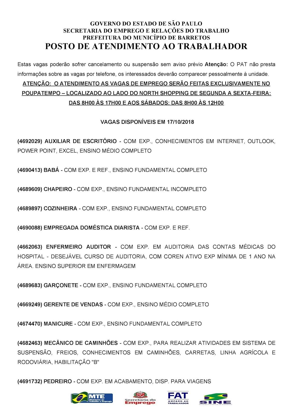 VAGAS DE EMPREGO DO PAT BARRETOS-SP PARA 17/10/2018 QUARTA-FEIRA - PÁG. 1