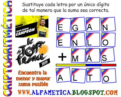 Alfaméticas, Criptoaritméticas, Criptosumas, Retos matemáticos, Desafíos matemáticos, Acertijos matemáticos, Problemas matemáticos, Juego de letras