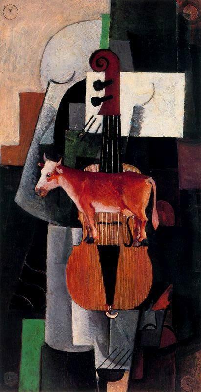 A Vaca e o Violino - Kasimir Malevich e suas pinturas com elementos geométricos abstratos
