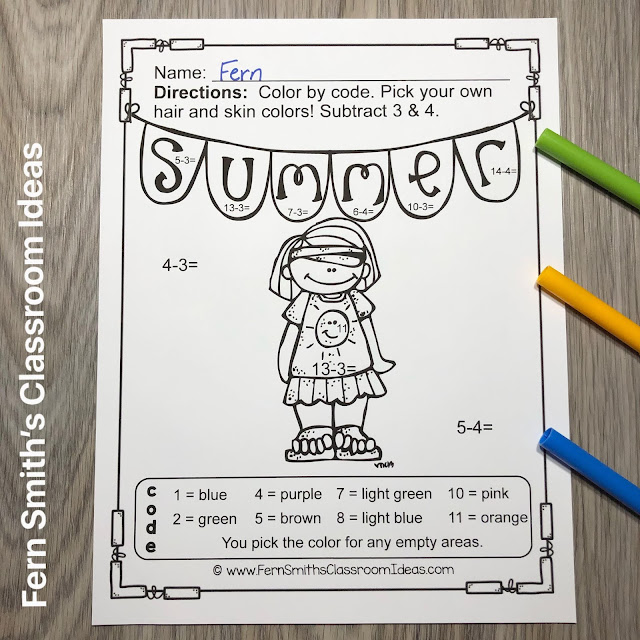 Click Here for the Color By Number Addition, Subtraction, Multiplication, and Division Beach Vacation Fun Printable Worksheets Resource BUNDLE.