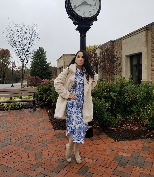 SHEIN White Teddy Coat and Blue Toile Dress