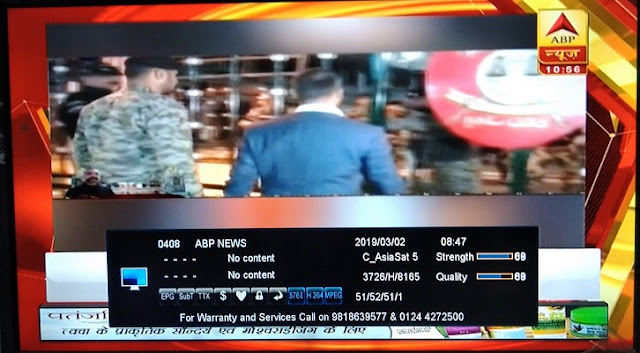 ABP News Channel free to air from Asiasat 7 satellite