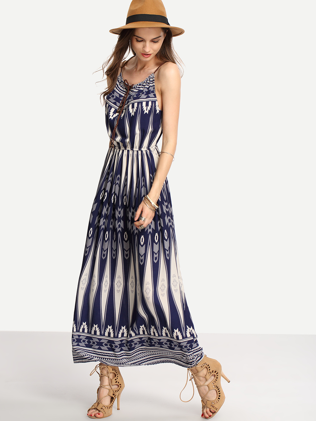 Blue Tie-Neck Tribal Print Cami Long Dress