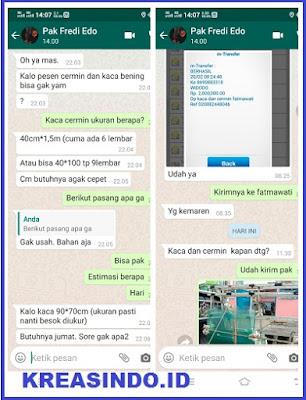 Pintu Aluminium, Kaca Polos dan Kaca Cermin pesanan Ke 4 Bpk Fredi untuk Projek Patmawati Jakarta
