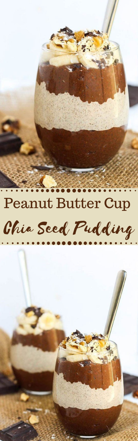 Peanut Butter Cup Chia Seed Pudding #desserts #chocolate #peanut #recipes #healthy