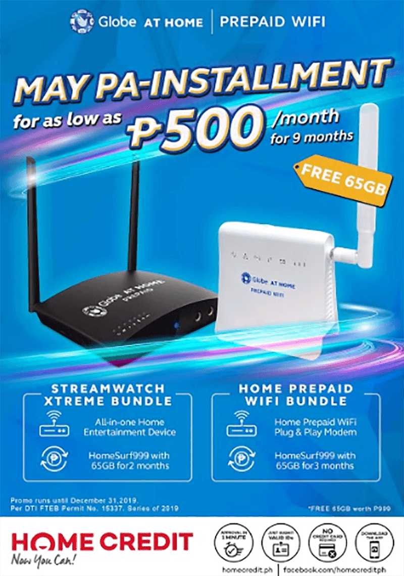 Get Globe at Home Prepaid WiFi devices with Home Credit