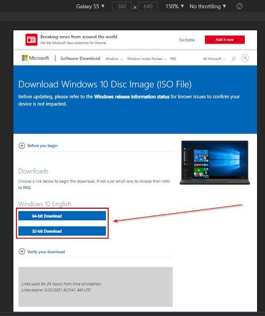 tombol opsi download iso windows 10