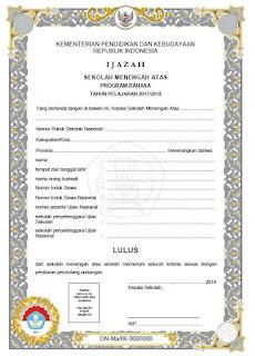 Blangko Ijazah SMA 2018 Kurikulum 2006, Jurusan Bahasa