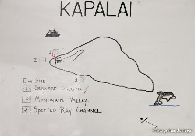 Mapa puntos de inmersión buceo en Kapalai