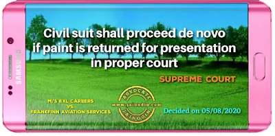 Civil suit shall proceed de novo if paint is returned for presentation in proper court