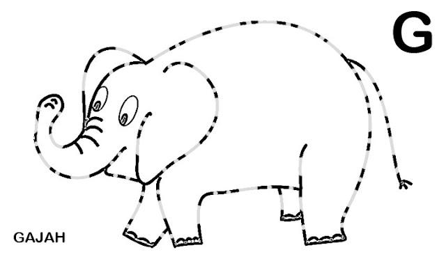 belajar menggambar dan mewarnai binatang hitam putih gajah