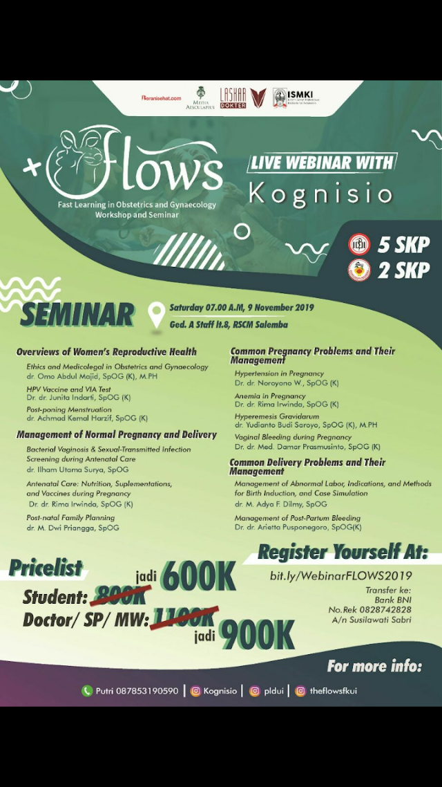 DISKON LAST MINUTE 2 DAYS TO GO!  WEBINAR THE 8TH FAST LEARNING IN OBSTETRIC AND GYNAECOLOGY WORKSHOP AND SEMINAR (FLOWS) 2019 ⚕