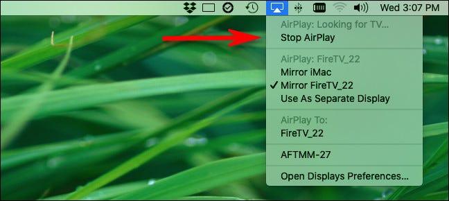 "لإيقاف مشاركة الشاشة ، انقر فوق رمز AirPlay وحدد ""Stop AirPlay""."