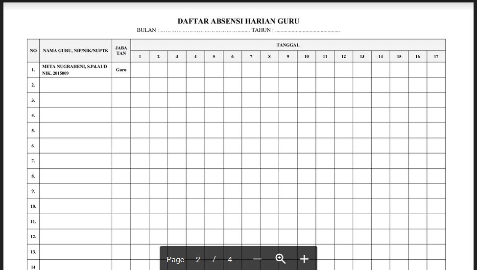 Contoh Absen Guru Paud Tk Ra Kb Tpa Format Word Pdf Excel