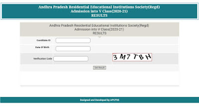 Andhra Pradesh Residential Educational Institutions Society(Regd) Admission into V Class(2020-21) RESULTS