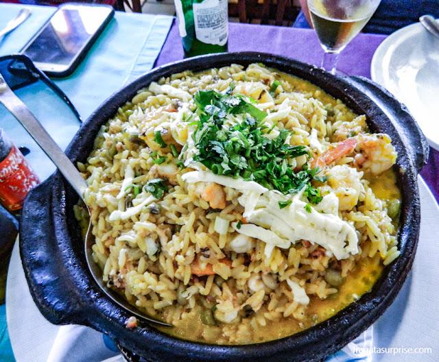 Baião de dois com mariscos do Restaurante Oficina do Sabor, em Olinda