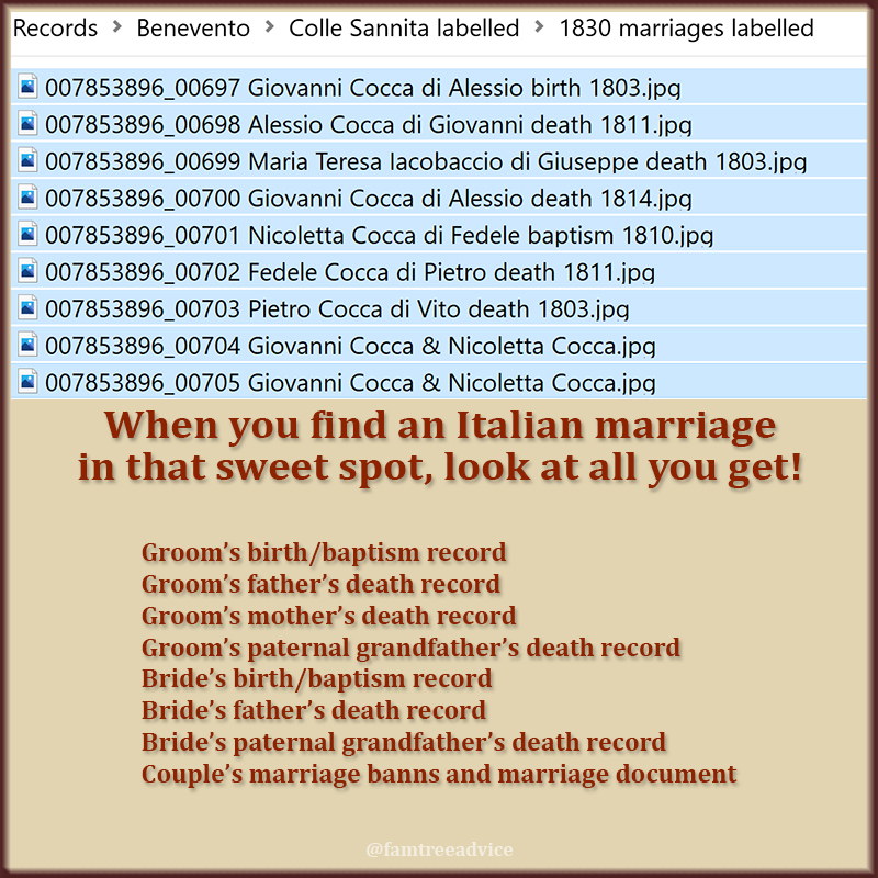 Imagine a set of marriage documents that tells you the names of the bride and groom's great grandparents!