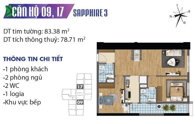 Thiết kế căn hộ số 9 và 17 tòa Sapphire 3