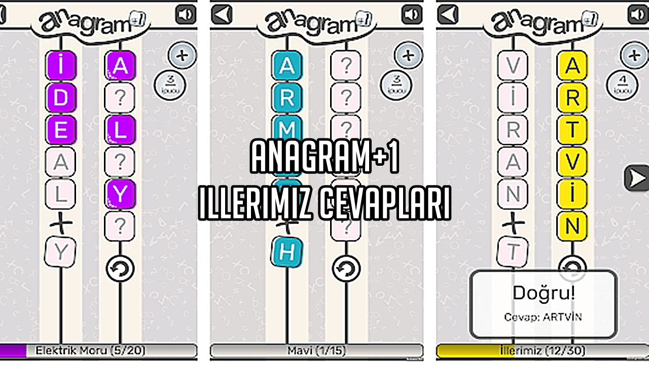 Anagram+1 İllerimiz Cevaplari