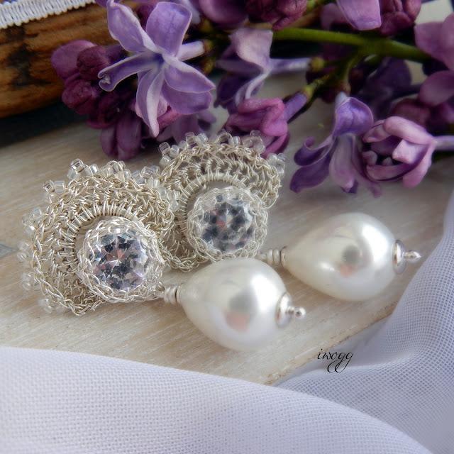 Kolczyki ślubne z perłą